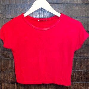 Bright red Zara crop top